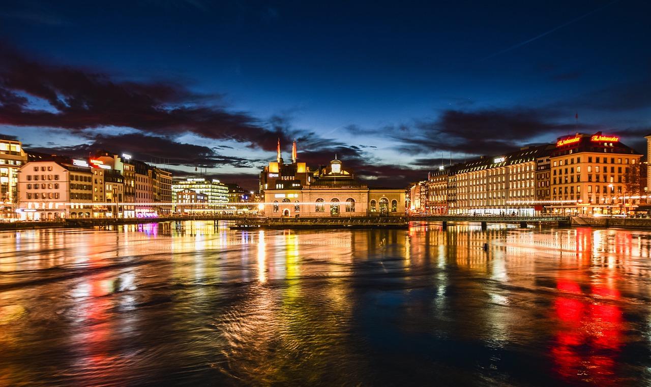 Geneva city by night