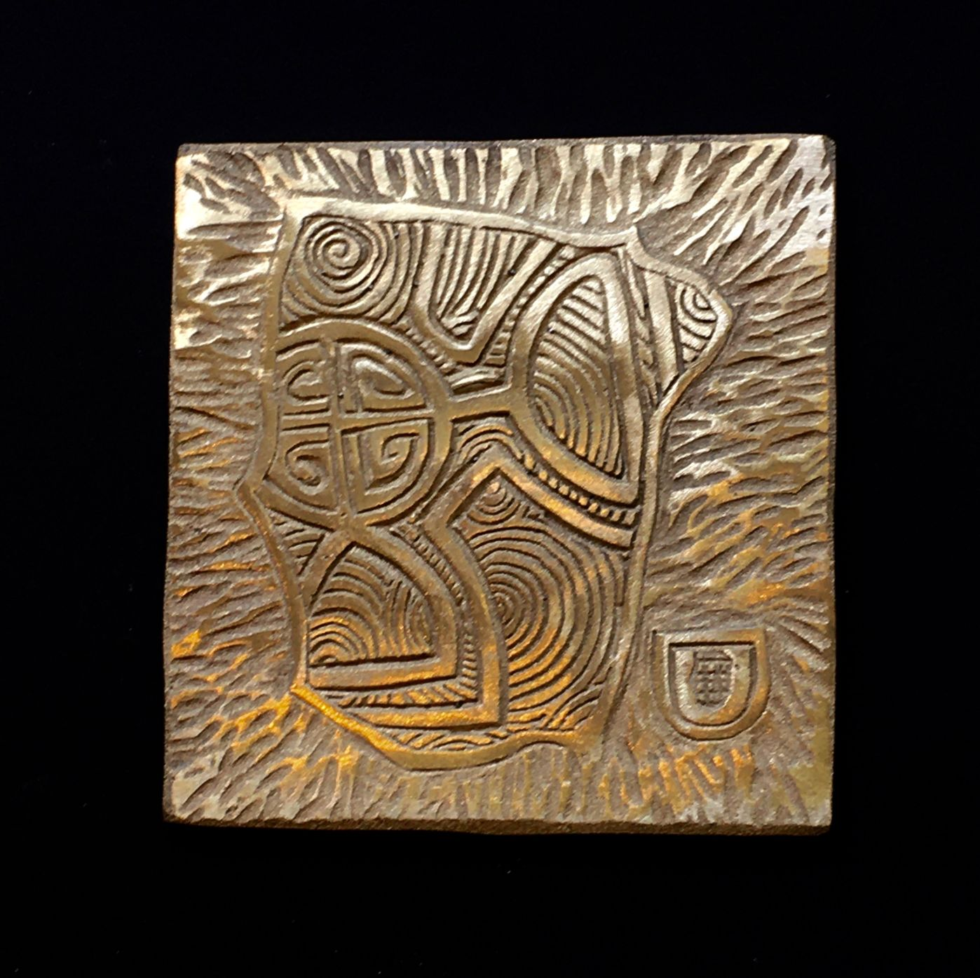 Series 5, Study no. 14 'Celts and Picts 2'. Low relief bronze plaque in black box frame